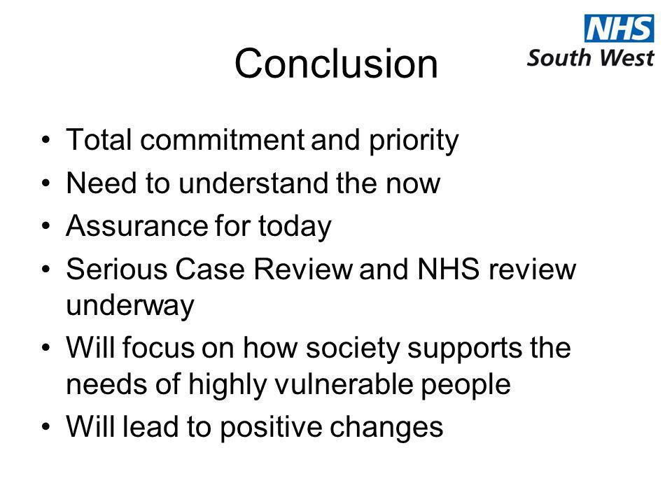Conclusion Total commitment and priority Need to understand the now Assurance for today Serious Case Review and NHS review underway Will focus on how