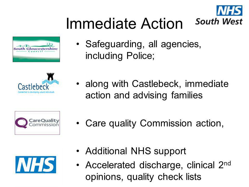 Immediate Action Safeguarding, all agencies, including Police; along with Castlebeck, immediate action and advising families Care quality Commission a