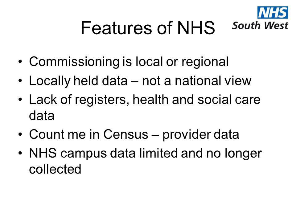Features of NHS Commissioning is local or regional Locally held data – not a national view Lack of registers, health and social care data Count me in