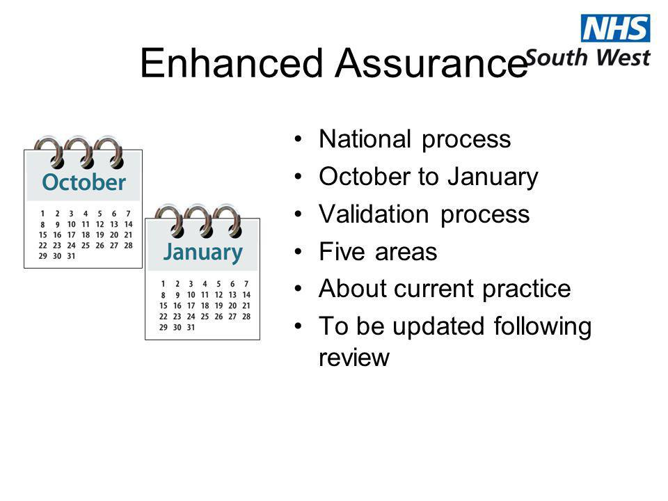Enhanced Assurance National process October to January Validation process Five areas About current practice To be updated following review