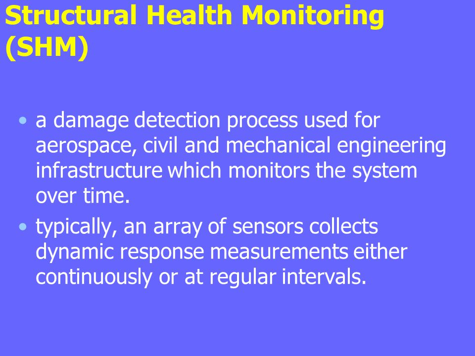 Structural Health Monitoring (SHM) a damage detection process used for aerospace, civil and mechanical engineering infrastructure which monitors the s