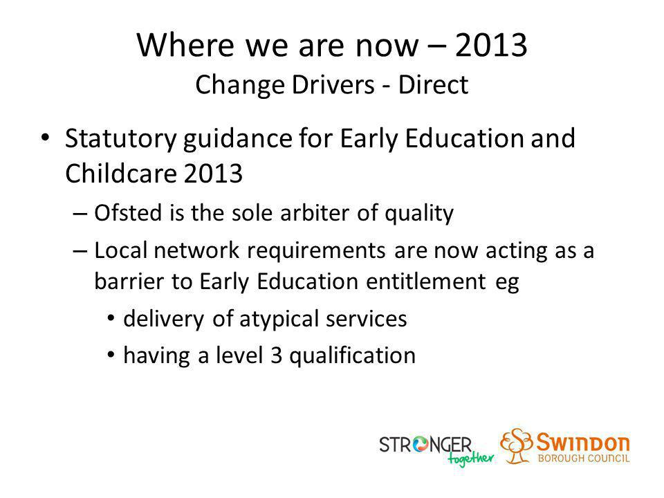 Where we are now – 2013 Change Drivers - Direct Statutory guidance for Early Education and Childcare 2013 – Ofsted is the sole arbiter of quality – Lo