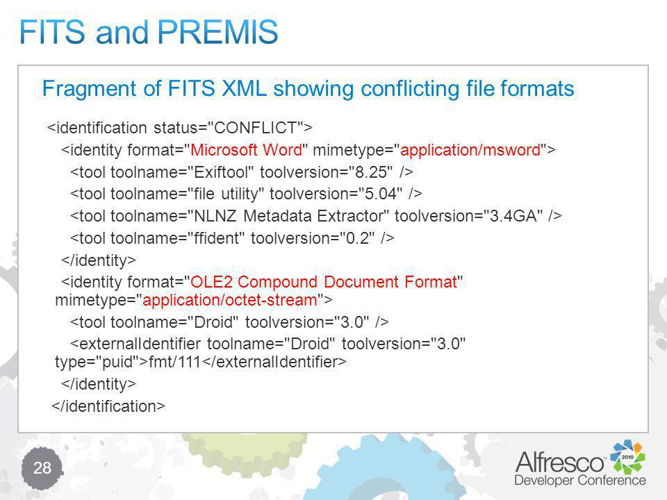 28 fmt/111 Fragment of FITS XML showing conflicting file formats