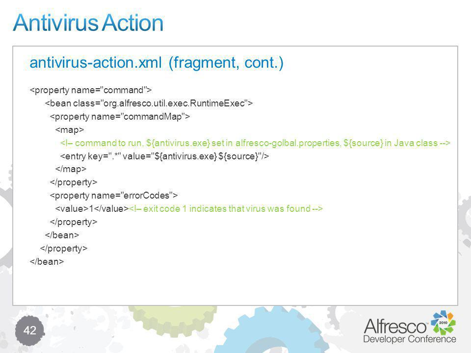 42 antivirus-action.xml (fragment, cont.) 1