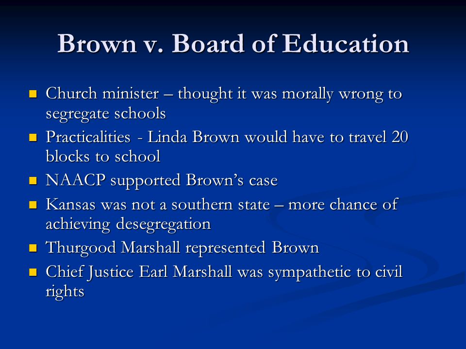  Your task Read about the case of Brown v Board of Education (1954) on p.57-9.