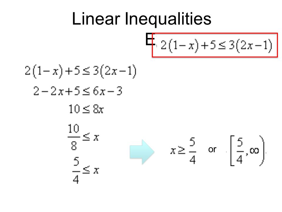 Linear Inequalities Example or