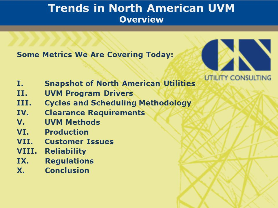 Introduction I.Basic Trend In North American UVM: Right Tree-Right Place II.CNUC Objective: Discover Industry Best Management Practices (BMPs)