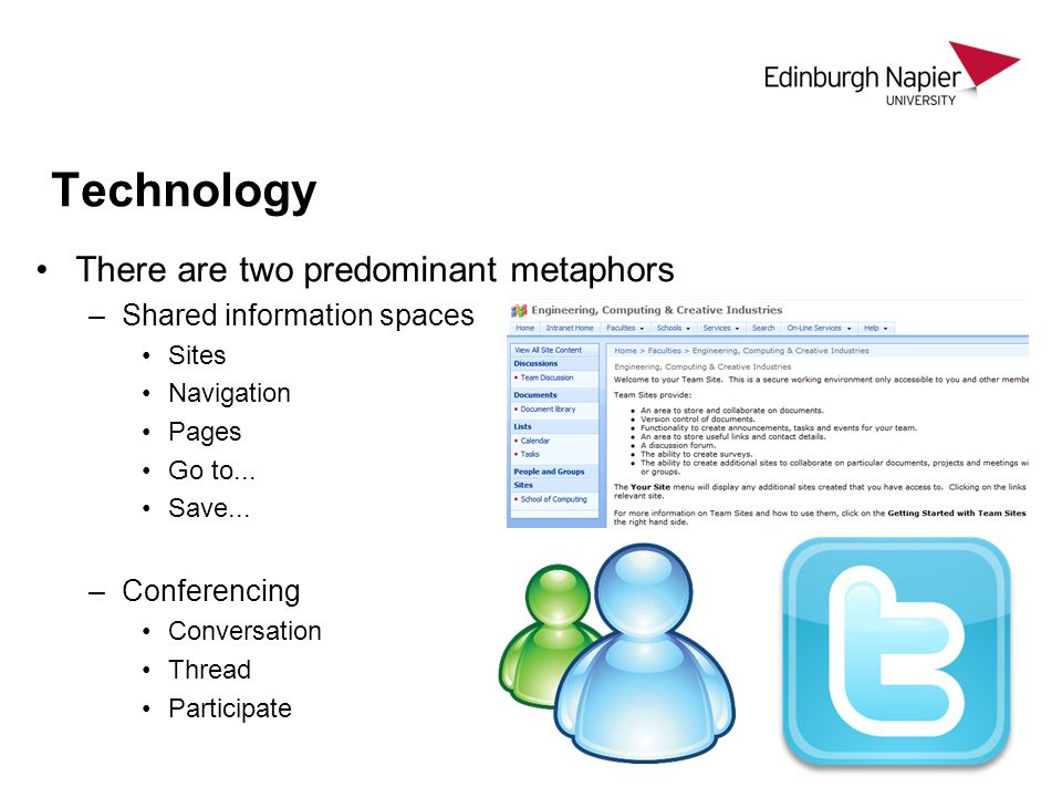 Technology There are two predominant metaphors –Shared information spaces Sites Navigation Pages Go to...