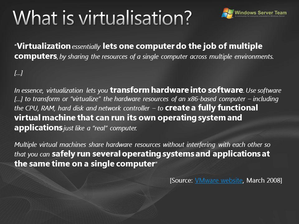 Windows Server Team UK: http://winserverteam.org.uk/http://winserverteam.org.uk/ My sites: markwilson.it (my blog): http://www.markwilson.co.uk/blog/http://www.markwilson.co.uk/blog/ Virtual Reality article: http://uk.fujitsu.com/POV/articles/2008/virtualisation/ http://uk.fujitsu.com/POV/articles/2008/virtualisation/ Some good virtualisation blogs: Windows virtualisation team: http://blogs.technet.com/virtualization/http://blogs.technet.com/virtualization/ Rakesh M (SCVMM): http://blogs.technet.com/rakeshm/http://blogs.technet.com/rakeshm/ John Howard: http://blogs.technet.com/jhoward/http://blogs.technet.com/jhoward/ Ben Armstrong: http://blogs.msdn.com/virtual_pc_guy/http://blogs.msdn.com/virtual_pc_guy/ Clive Watson: http://blogs.technet.com/clive_watson/http://blogs.technet.com/clive_watson/ Justin Zarb: http://blogs.technet.com/virtualworld/http://blogs.technet.com/virtualworld/ Andrew Dugdell: http://blog.windowsvirtualization.com/http://blog.windowsvirtualization.com/ Virtualization.info: http://www.virtualization.info/http://www.virtualization.info/ Not just virtualisation: James O'Neill: http://blogs.technet.com/jamesone/http://blogs.technet.com/jamesone/ Steve Lamb: http://blogs.technet.com/steve_lamb/http://blogs.technet.com/steve_lamb/ This slidedeck: http://cid-1453622c71a8a08e.skydrive.live.com/browse.aspx/Public http://cid-1453622c71a8a08e.skydrive.live.com/browse.aspx/Public