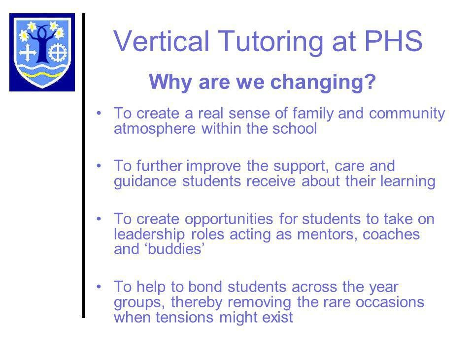 Vertical Tutoring at PHS Why are we changing.