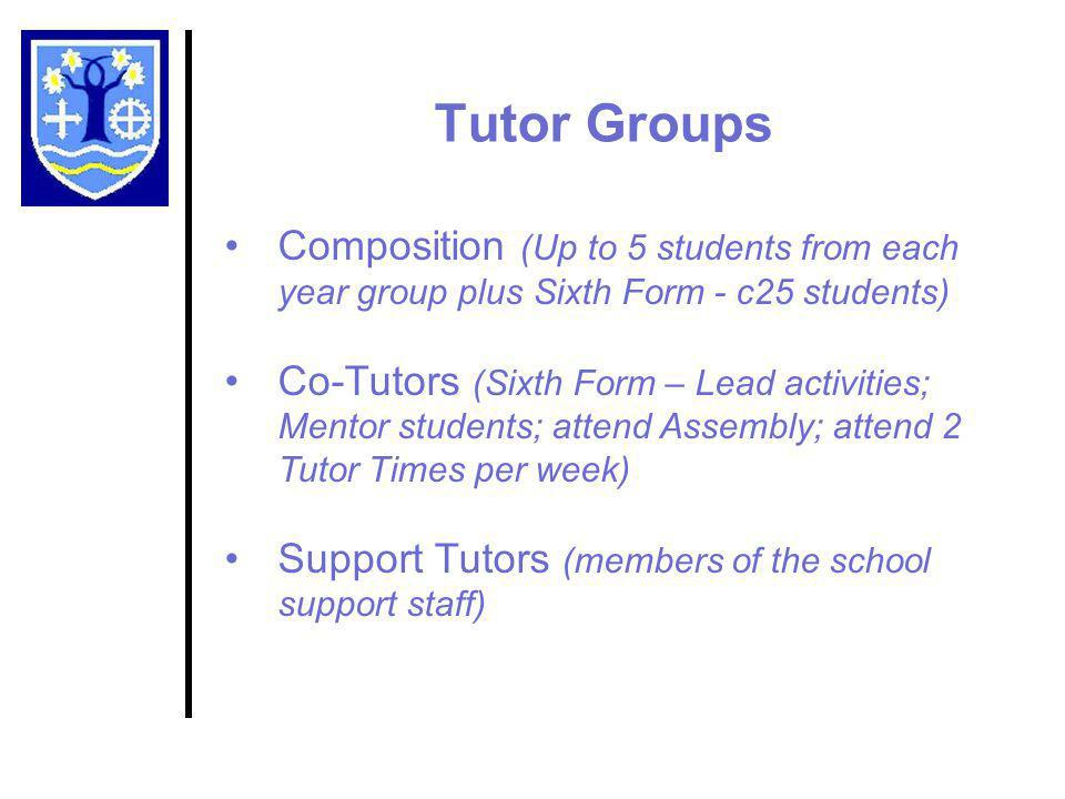 Tutor Groups Composition (Up to 5 students from each year group plus Sixth Form - c25 students) Co-Tutors (Sixth Form – Lead activities; Mentor students; attend Assembly; attend 2 Tutor Times per week) Support Tutors (members of the school support staff)