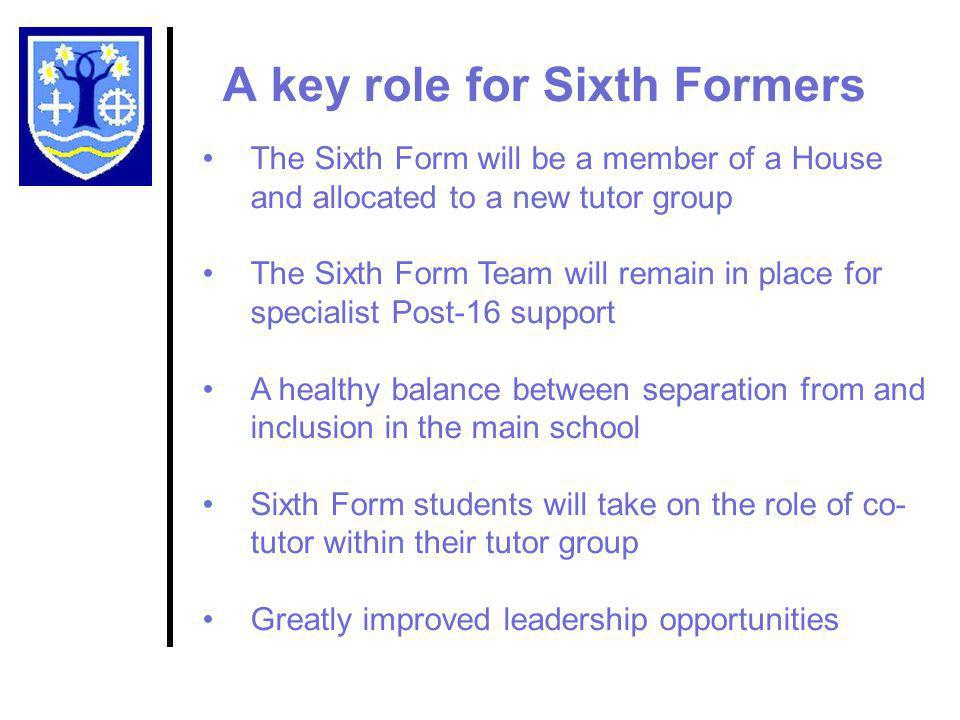 A key role for Sixth Formers The Sixth Form will be a member of a House and allocated to a new tutor group The Sixth Form Team will remain in place for specialist Post-16 support A healthy balance between separation from and inclusion in the main school Sixth Form students will take on the role of co- tutor within their tutor group Greatly improved leadership opportunities