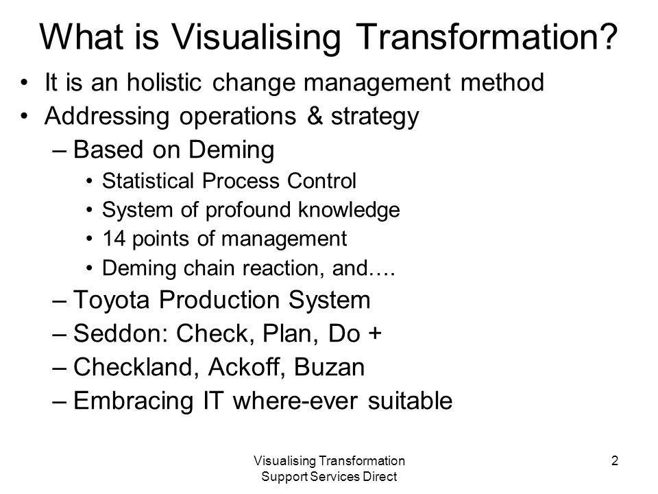 Visualising Transformation Support Services Direct Development history This shows –Statistical approaches at the top Shewhart, Deming Ohno, Womack, Seddon –Soft systems and computing designs Stafford Beer, Jenkins, Checkland, Ackoff –Management theory Ford, Taylor, Bono, Senge, Maslow, Drucker, Keynes… –Inspiration / genius Einstein, Da Vinci, Dali, Newton, Brunel, Darwin and Nightingale.