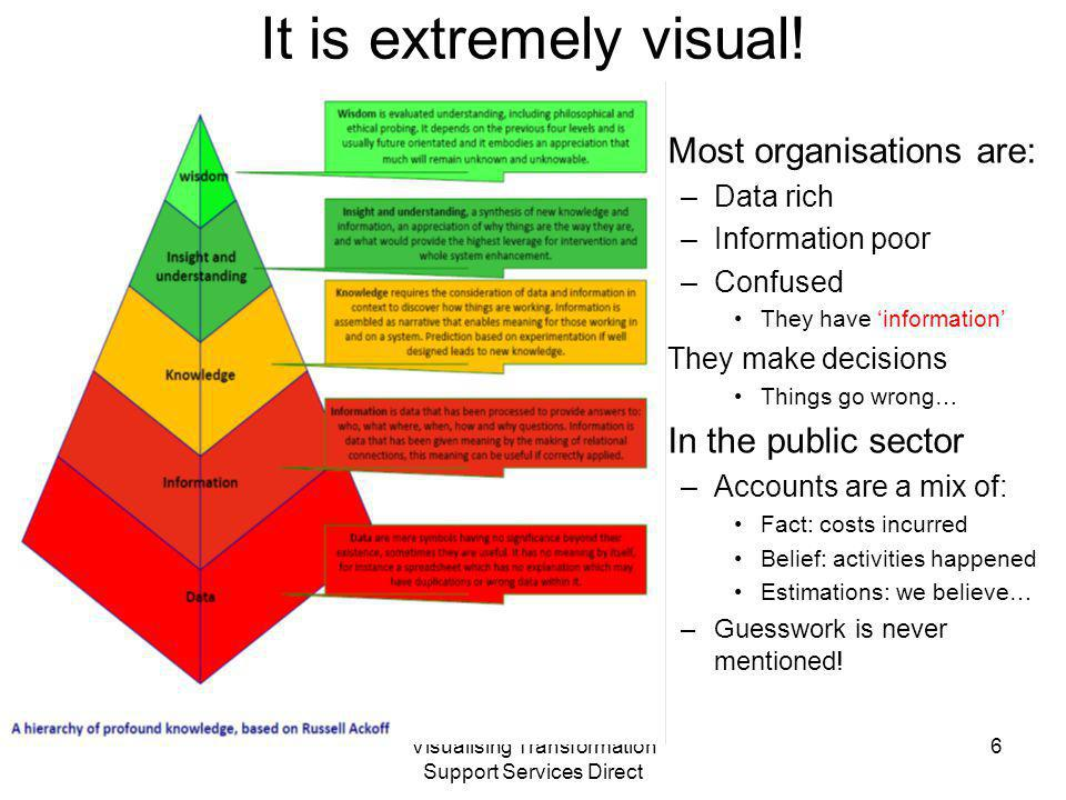 Visualising Transformation Support Services Direct It is extremely visual! Most organisations are: –Data rich –Information poor –Confused They have 'i