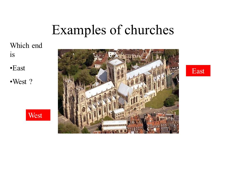 Examples of churches Which end is East West East West