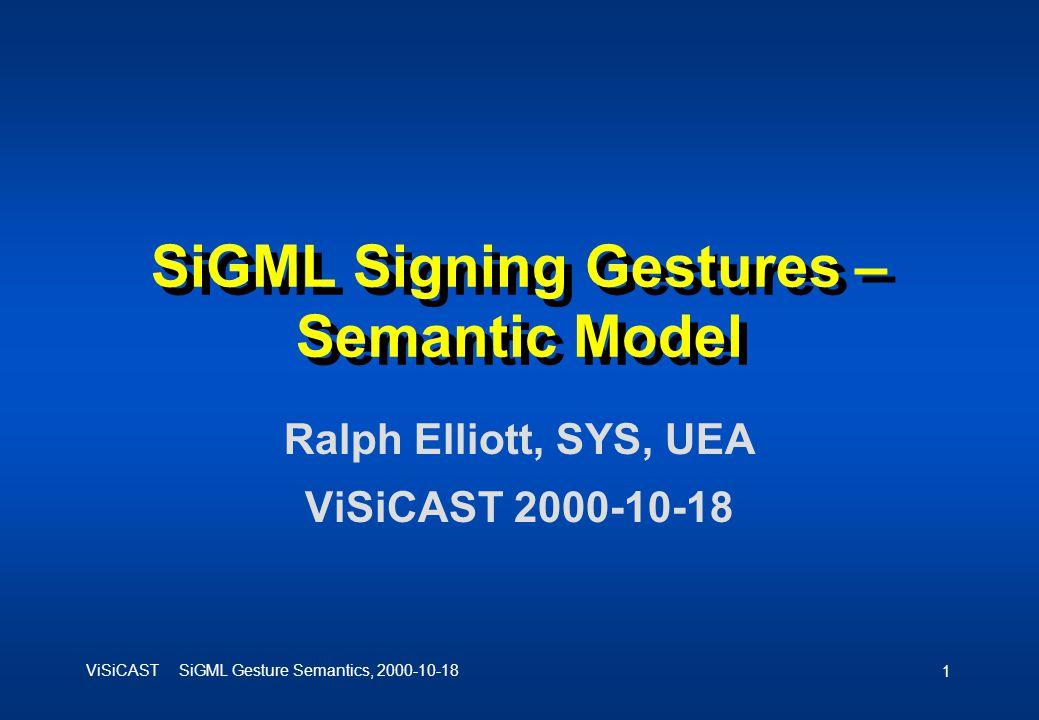 ViSiCAST SiGML Gesture Semantics, 2000-10-18 1 SiGML Signing Gestures – Semantic Model Ralph Elliott, SYS, UEA ViSiCAST 2000-10-18
