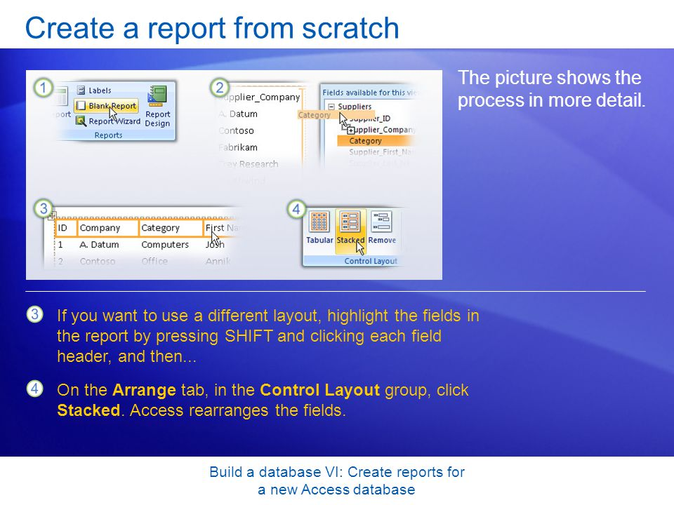 Build a database VI: Create reports for a new Access database Create a report from scratch The picture shows the process in more detail. If you want t