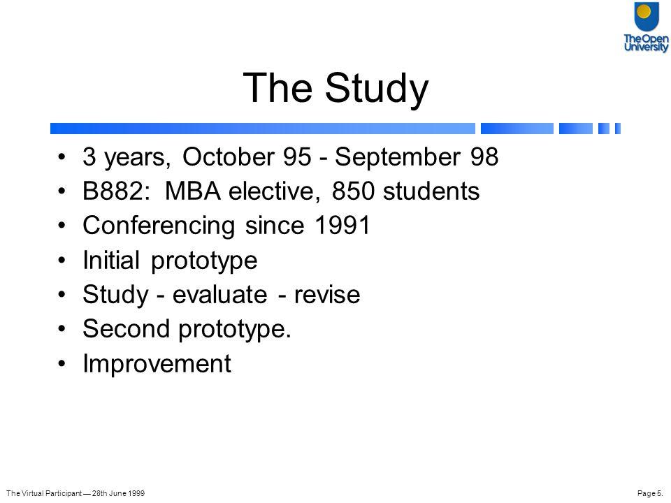 The Virtual Participant — 28th June 1999Page 16.
