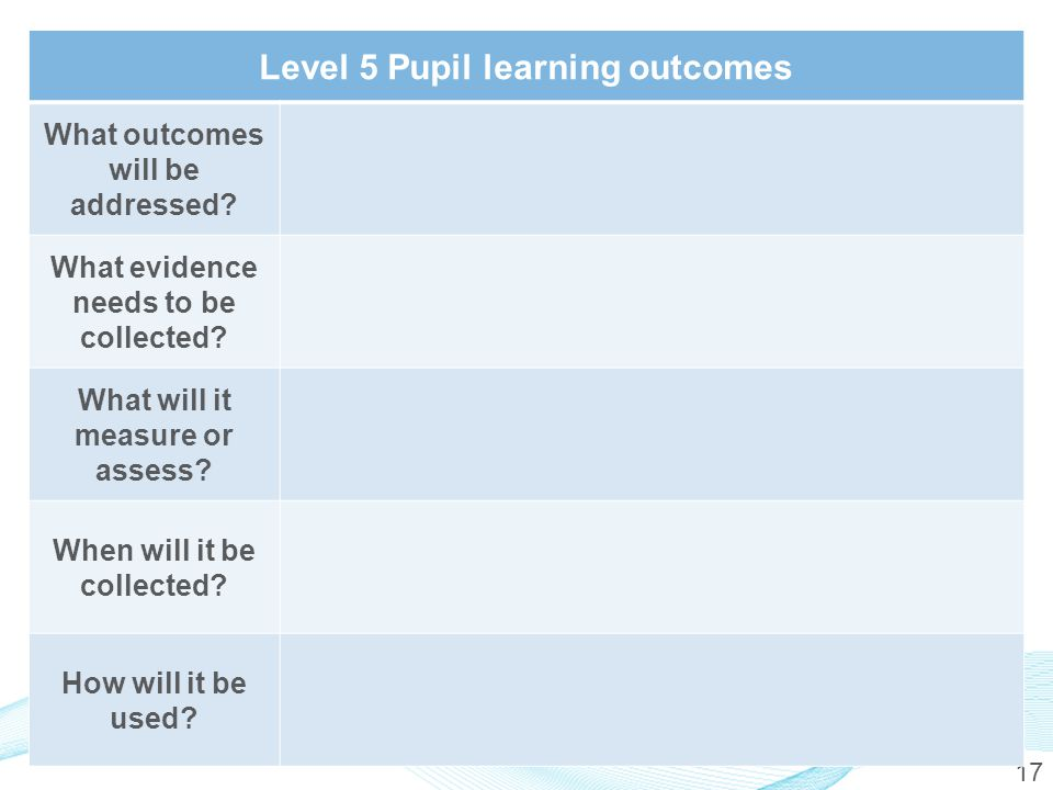 17 Level 5 Pupil learning outcomes What outcomes will be addressed.