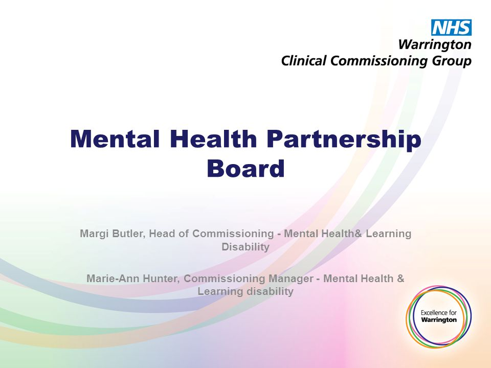 Mental Health Partnership Board Margi Butler, Head of Commissioning - Mental Health& Learning Disability Marie-Ann Hunter, Commissioning Manager - Men