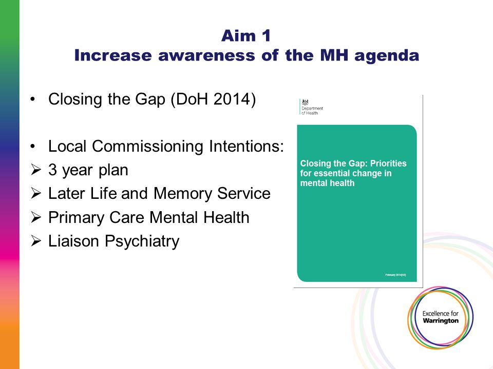 Aim 1 Increase awareness of the MH agenda Closing the Gap (DoH 2014) Local Commissioning Intentions:  3 year plan  Later Life and Memory Service  P