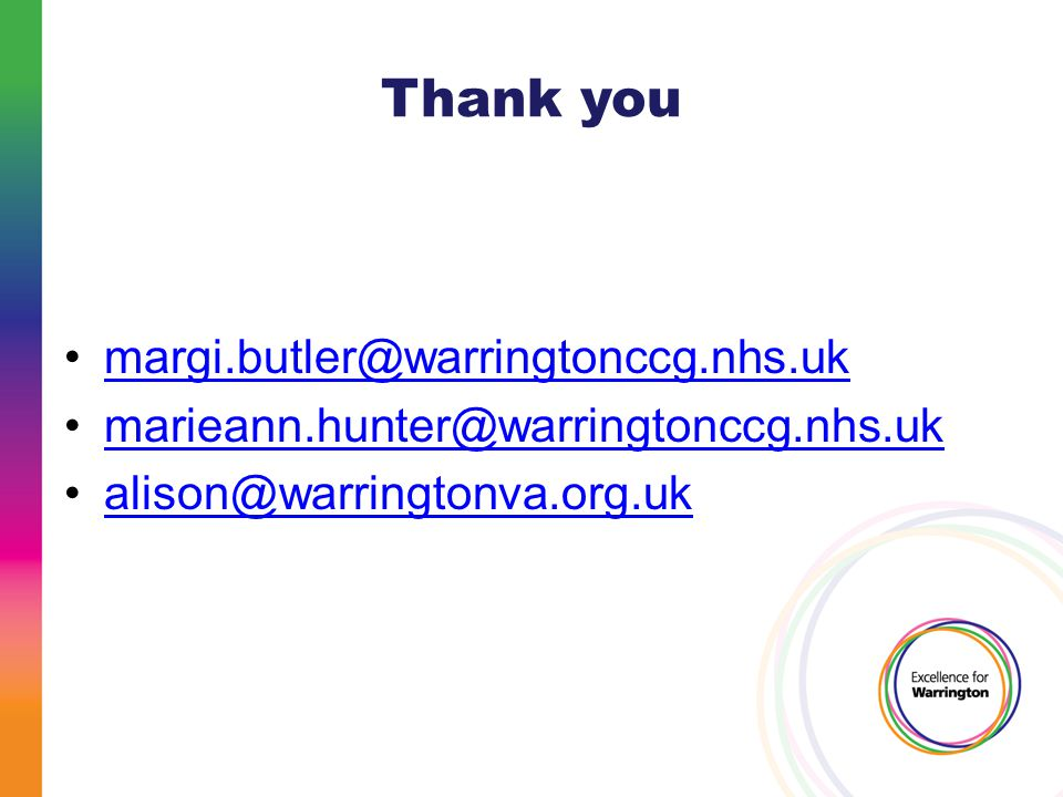 Thank you margi.butler@warringtonccg.nhs.uk marieann.hunter@warringtonccg.nhs.uk alison@warringtonva.org.uk