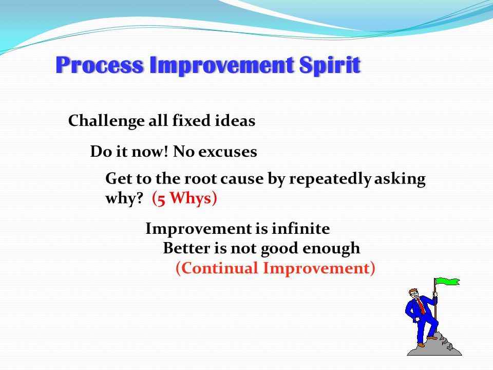 Challenge all fixed ideas Do it now! No excuses Get to the root cause by repeatedly asking why? (5 Whys) Improvement is infinite Better is not good en