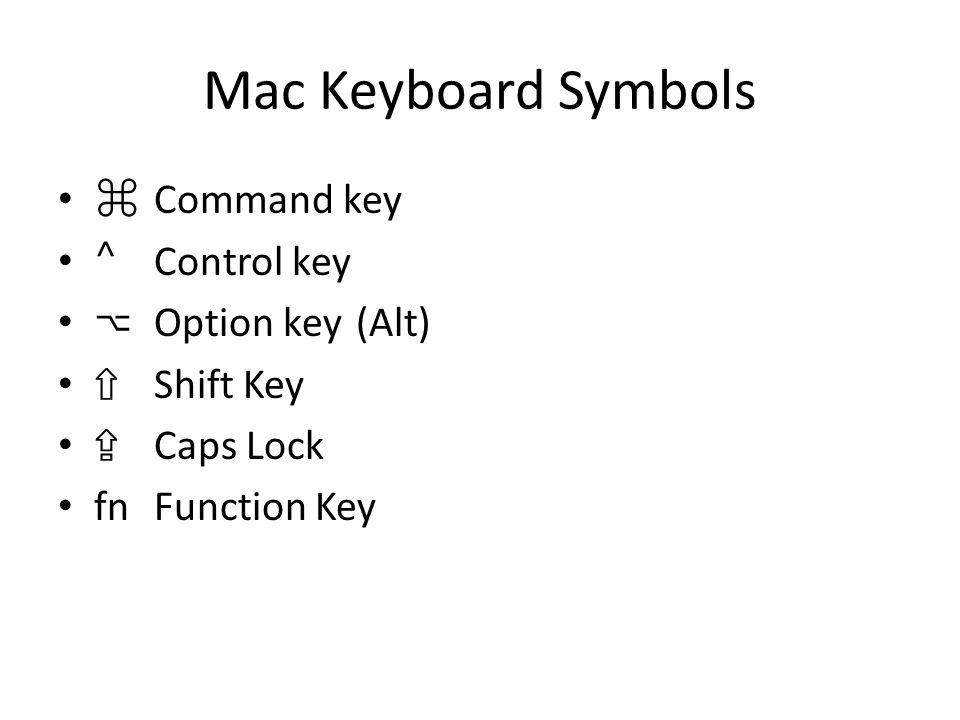 Mac Keyboard Symbols ⌘ Command key ⌃ Control key ⌥ Option key (Alt) ⇧ Shift Key ⇪ Caps Lock fnFunction Key