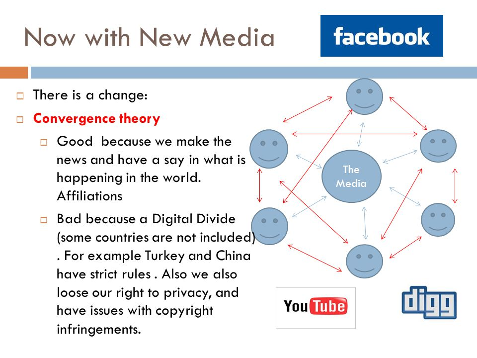 Now with New Media The Media  There is a change:  Convergence theory  Good because we make the news and have a say in what is happening in the worl
