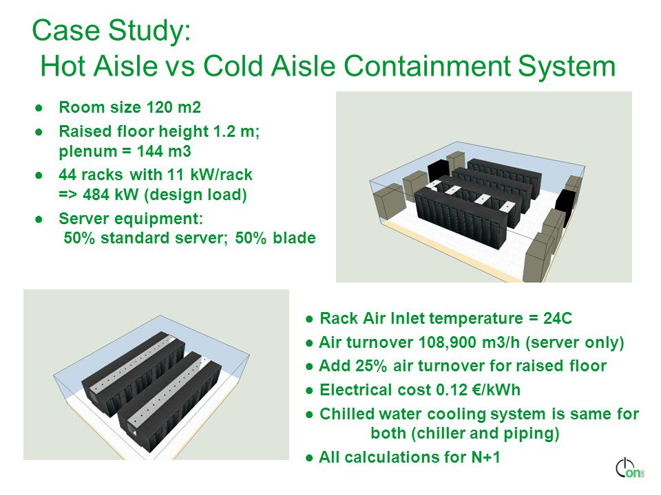 Case Study: Hot Aisle vs Cold Aisle Containment System ●Room size 120 m2 ●Raised floor height 1.2 m; plenum = 144 m3 ●44 racks with 11 kW/rack => 484 kW (design load) ●Server equipment: 50% standard server; 50% blade ● Rack Air Inlet temperature = 24C ● Air turnover 108,900 m3/h (server only) ● Add 25% air turnover for raised floor ● Electrical cost 0.12 €/kWh ● Chilled water cooling system is same for both (chiller and piping) ● All calculations for N+1