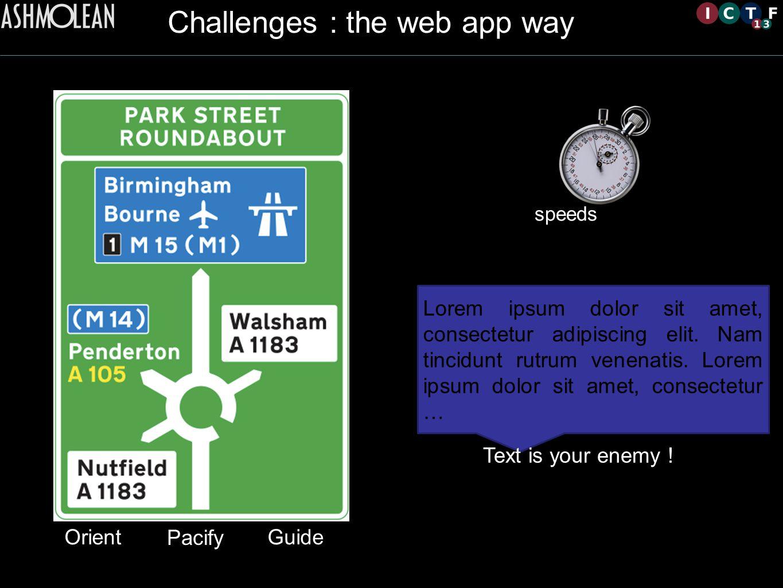 Challenges : the web app way Lorem ipsum dolor sit amet, consectetur adipiscing elit.