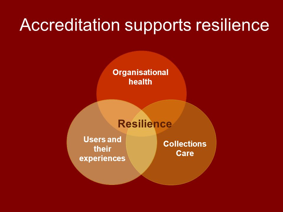 Organisational health Collections Care Users and their experiences Resilience Accreditation supports resilience