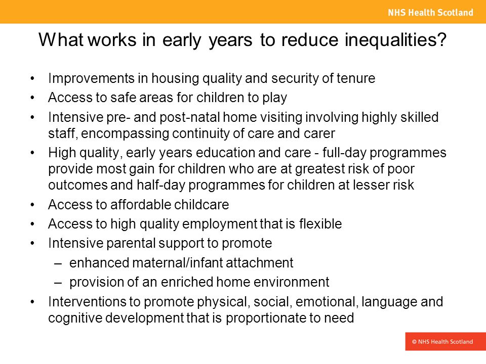What works in early years to reduce inequalities.