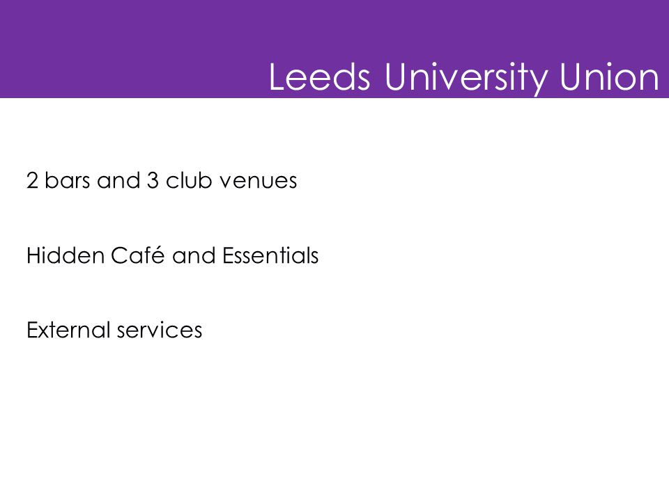 Leeds University Union 2 bars and 3 club venues Hidden Café and Essentials External services