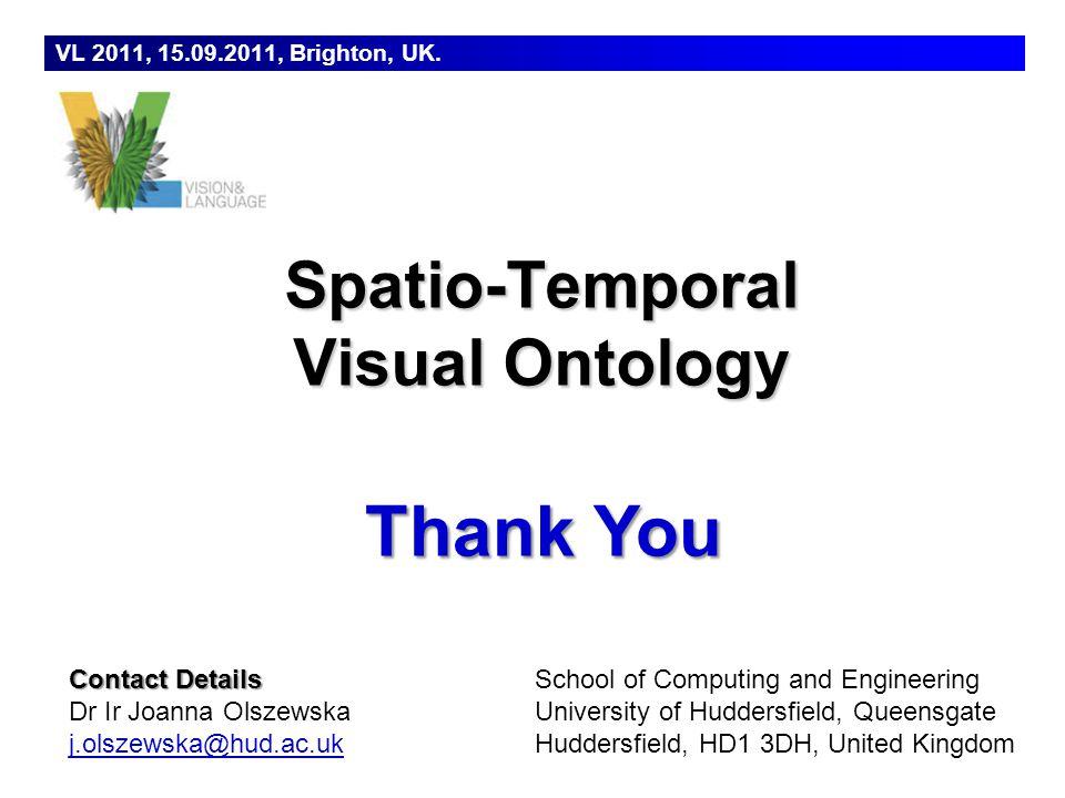 Dr Joanna Isabelle Olszewska School of Computing and Engineering, University of Huddersfield, UK. Thank You VL 2011, 15.09.2011, Brighton, UK. Spatio-
