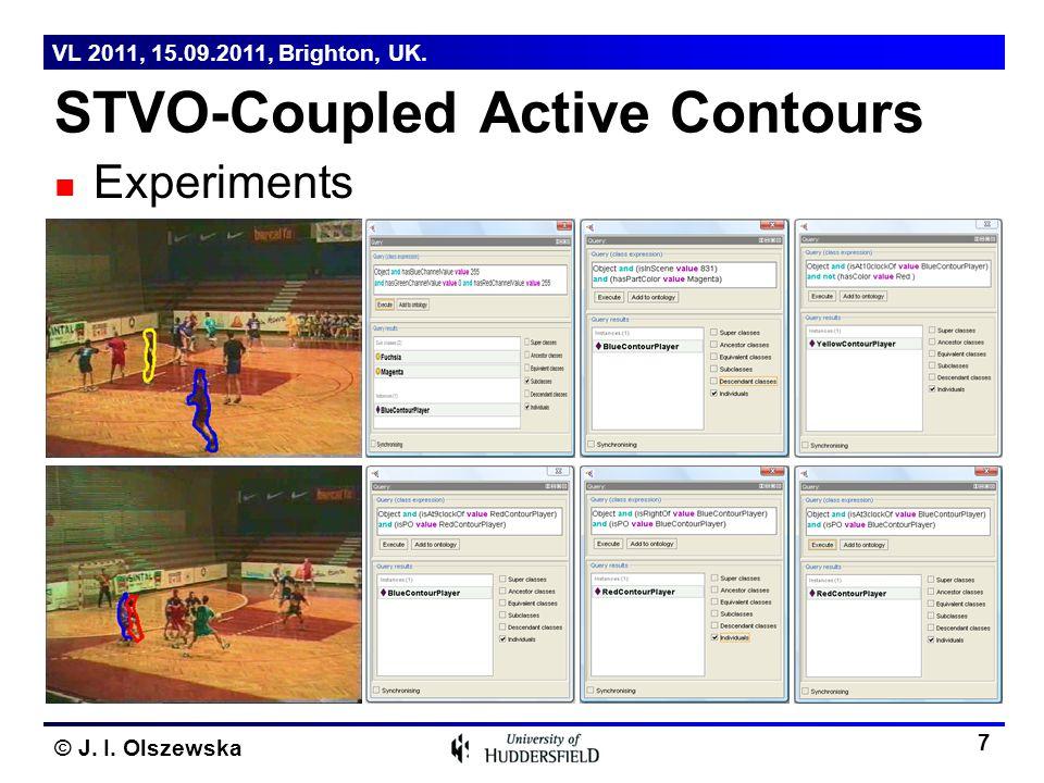 © J. I. Olszewska Experiments STVO-Coupled Active Contours 7 VL 2011, 15.09.2011, Brighton, UK.
