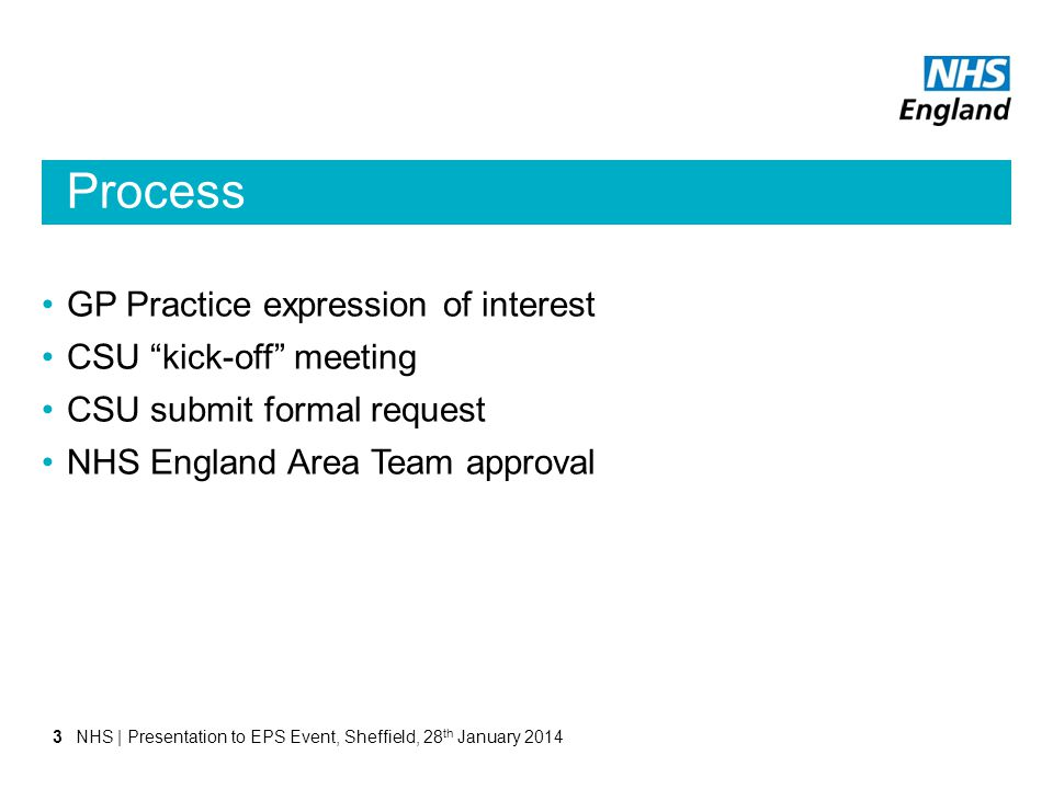 "Process GP Practice expression of interest CSU ""kick-off"" meeting CSU submit formal request NHS England Area Team approval NHS 