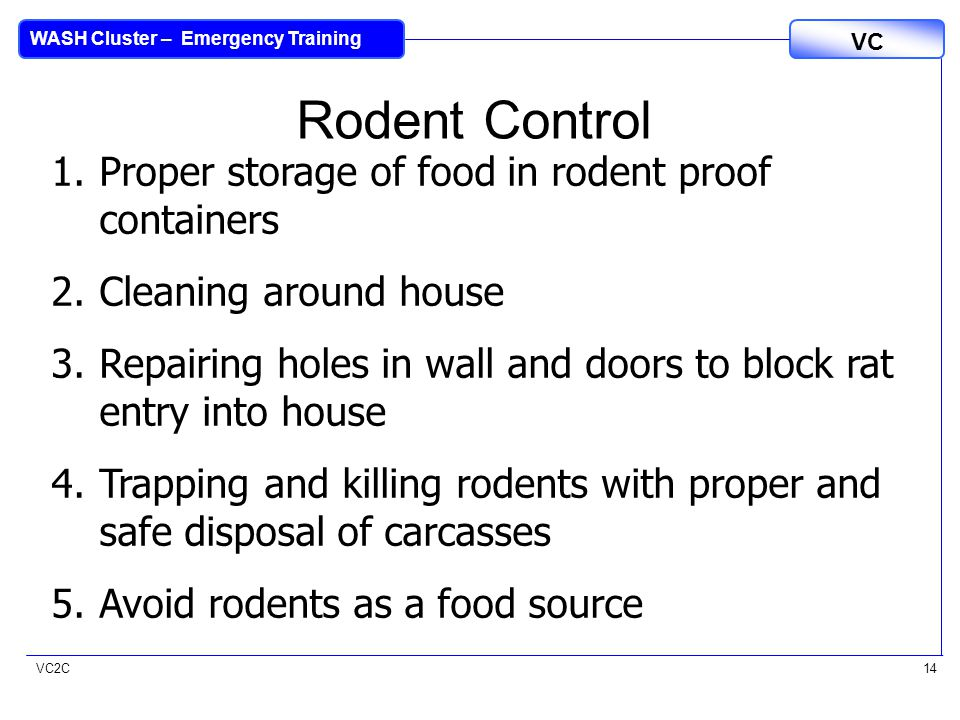 VC2C VC WASH Cluster – Emergency Training 14 1.Proper storage of food in rodent proof containers 2.Cleaning around house 3.Repairing holes in wall and doors to block rat entry into house 4.Trapping and killing rodents with proper and safe disposal of carcasses 5.Avoid rodents as a food source Rodent Control