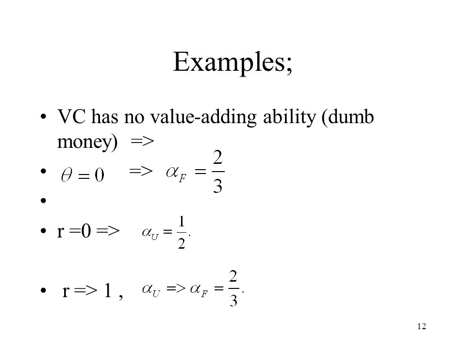 12 Examples; VC has no value-adding ability (dumb money) => => r =0 => r => 1,
