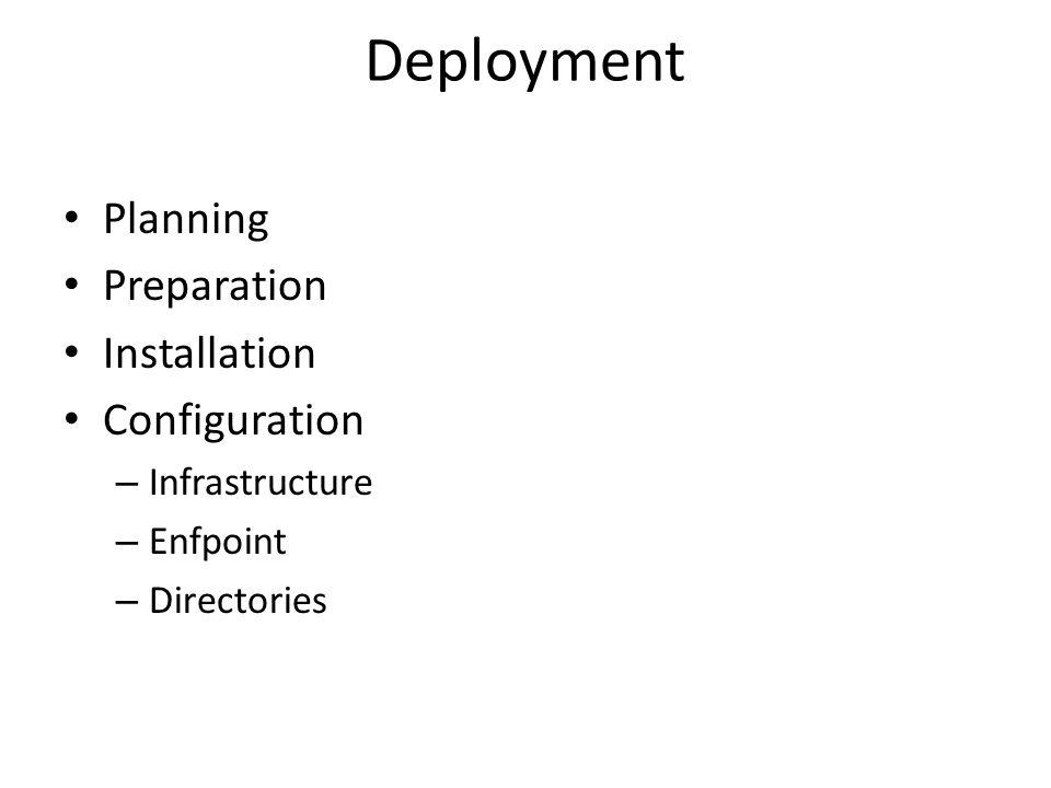 Deployment Planning Preparation Installation Configuration – Infrastructure – Enfpoint – Directories