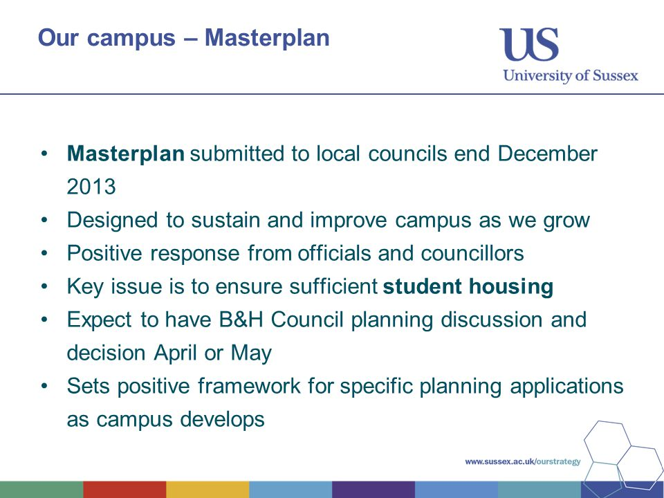 Our campus – Masterplan Masterplan submitted to local councils end December 2013 Designed to sustain and improve campus as we grow Positive response f