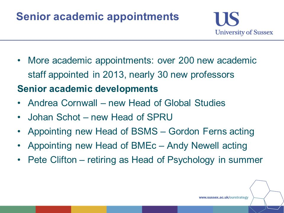 Senior academic appointments More academic appointments: over 200 new academic staff appointed in 2013, nearly 30 new professors Senior academic developments Andrea Cornwall – new Head of Global Studies Johan Schot – new Head of SPRU Appointing new Head of BSMS – Gordon Ferns acting Appointing new Head of BMEc – Andy Newell acting Pete Clifton – retiring as Head of Psychology in summer