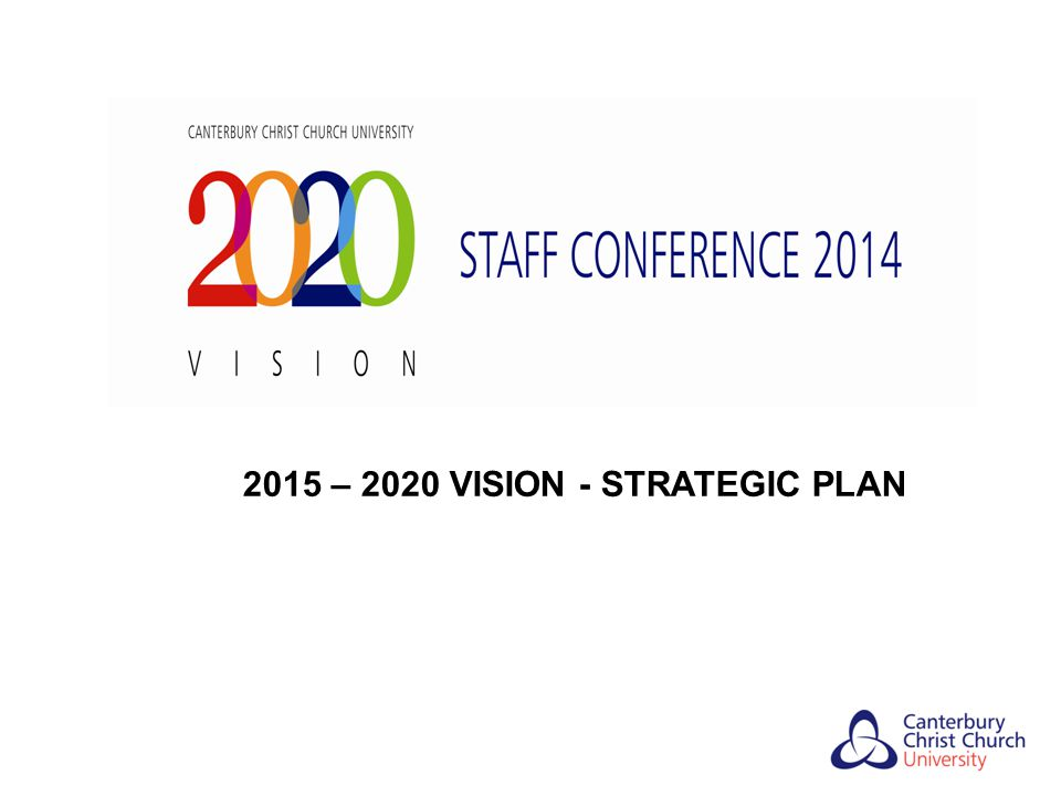 Canterbury Christ Church University Strategic Plan 2015 - 2020 Timeline Jan 2014 Mar 2014 May 2014 Jun-Dec 2014 Focus and shape Feb 2014 Agreement of Apr 2014 Agreement of Jun 2014 Operational of Strategic Plan Management External Stakeholder Staff Conference high level Staff Conference Plan/Business Framework by Forum - Engagement by - consultation Strategic Plan by - finalisation Plan SMT consultation Governing Body Governing Body Approval of Strategic Plan by Governing Body Apr – May 2014 Jun – Dec 2014 Feb – Apr 2014 -External Stakeholder Engagement May-Jun 2014 3 year Business - Mapping for External Stakeholder Engagement -Open Staff Meetings - Governing Body/SMT Event Planning Process -Academic Staff Forum - consultation - Management Forum - -University Academic Board and Committees presentation of findings - consultation from External Stakeholder Engagement COMMUNICATION STRATEGY TO STAFF
