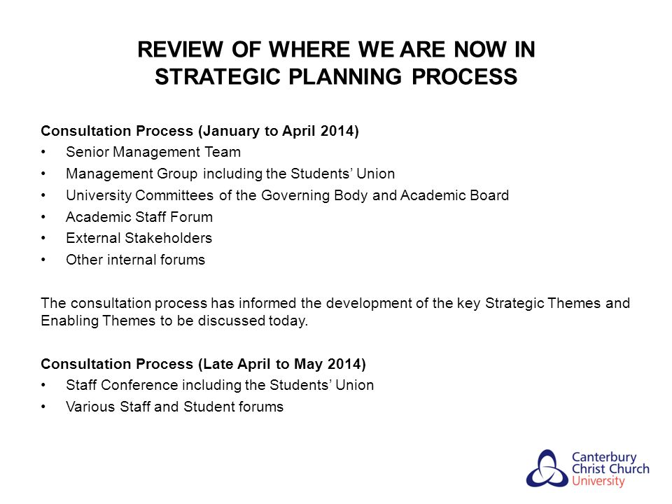 REVIEW OF WHERE WE ARE NOW IN STRATEGIC PLANNING PROCESS Consultation Process (January to April 2014) Senior Management Team Management Group includin