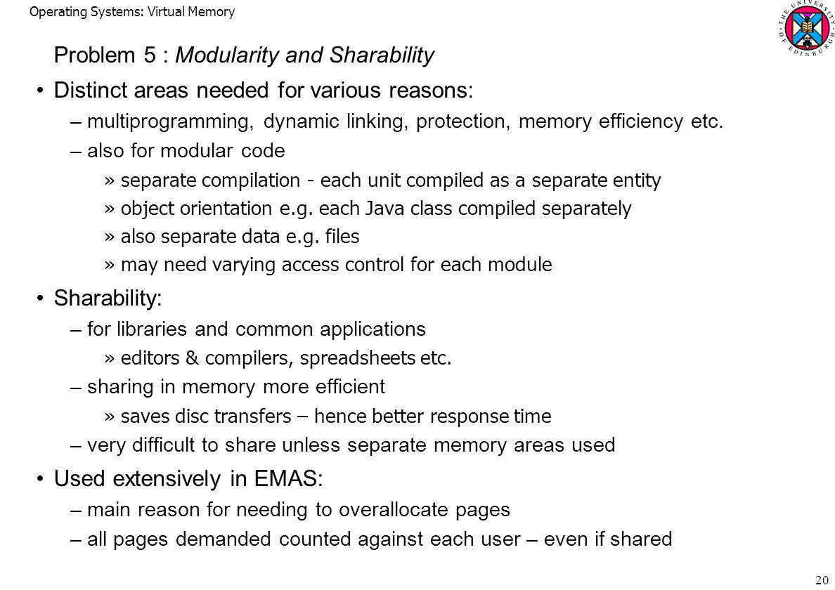 Operating Systems: Virtual Memory 20 Problem 5 : Modularity and Sharability Distinct areas needed for various reasons: –multiprogramming, dynamic linking, protection, memory efficiency etc.