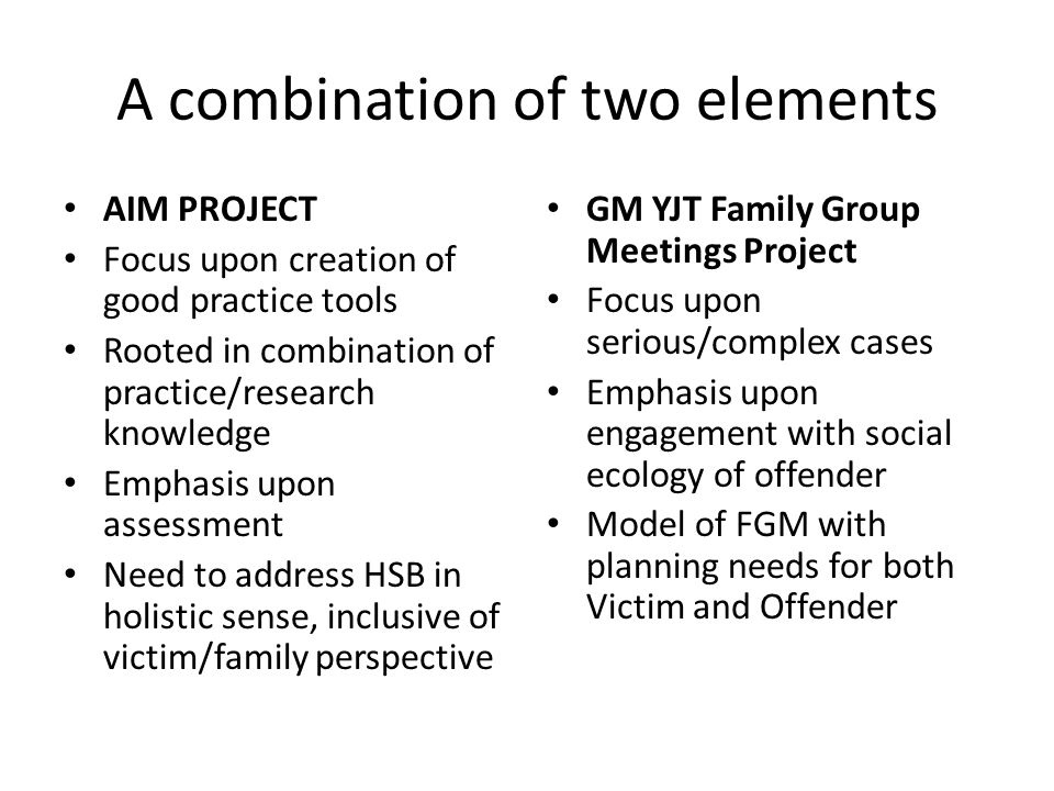 A combination of two elements AIM PROJECT Focus upon creation of good practice tools Rooted in combination of practice/research knowledge Emphasis upon assessment Need to address HSB in holistic sense, inclusive of victim/family perspective GM YJT Family Group Meetings Project Focus upon serious/complex cases Emphasis upon engagement with social ecology of offender Model of FGM with planning needs for both Victim and Offender