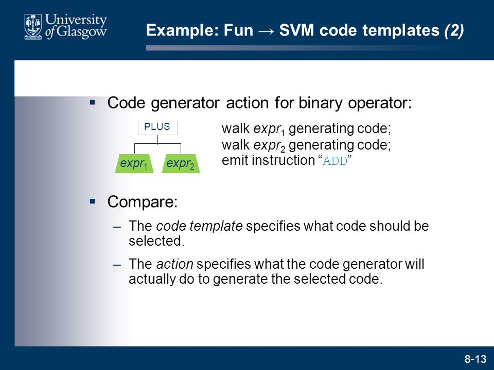 8-13 Example: Fun → SVM code templates (2)  Code generator action for binary operator: PLUS expr 1 expr 2 walk expr 1 generating code; walk expr 2 ge