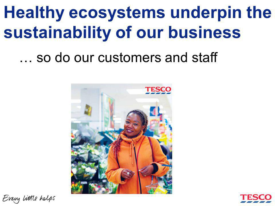 Healthy ecosystems underpin the sustainability of our business Our supply chains depend on it….… so do our customers and staff