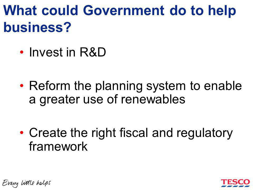What could Government do to help business.