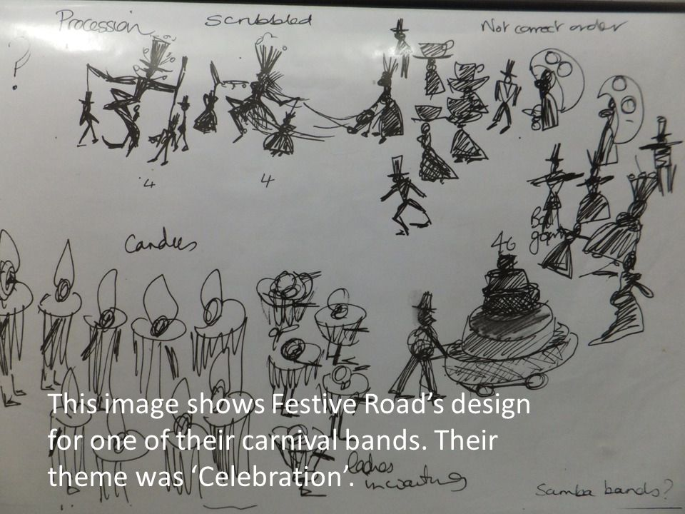 This image shows Festive Road's design for one of their carnival bands.